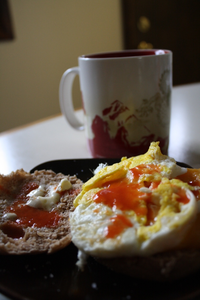 Coffee with an egg sandwich